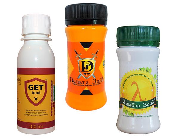 Viele Insektizidkonzentrate sind für den häuslichen Gebrauch geeignet und werden in kleinen Verpackungen verkauft.