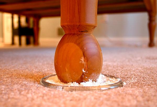 Ein Beispiel für die Verwendung von Insektiziden Pulver zur Vorbeugung von Zuchtwanzen in der Wohnung.