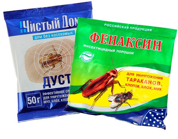 Beispiele für pulverförmige Insektizide.