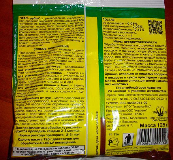Die Zusammensetzung und die Gebrauchsanweisung für das Insektizid Fas-Double