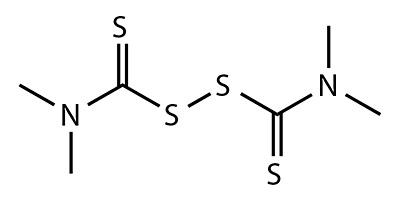 Thiuram (Tetramethylthiuramdisulfid) - chemische Formel